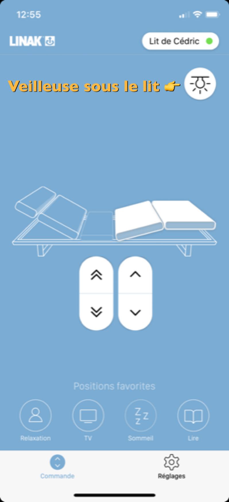 Activez la veilleuse sous votre lit depuis votre application